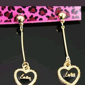 NEW Betsey Johnson Gold Love Heart Dangle Earrings